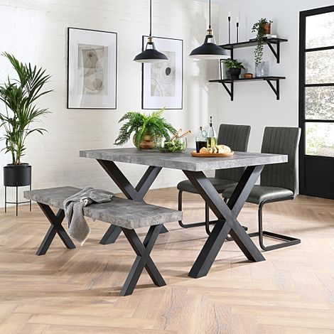 Franklin Concrete Dining Table and Bench with 2 Perth Vintage Grey Leather Chairs