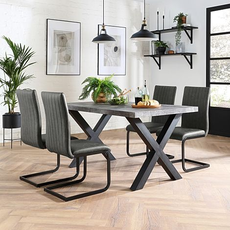 Franklin Concrete Dining Table with 4 Perth Vintage Grey Leather Chairs