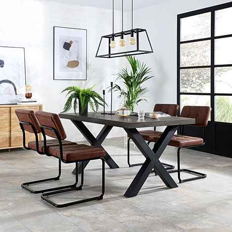 Franklin 150cm Grey Wood Dining Table with 4 Carter Tan Leather Chairs