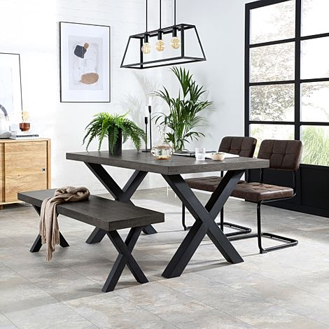 Franklin 150cm Grey Wood Dining Table and Bench with 2 Carter Vintage Brown Leather Chairs