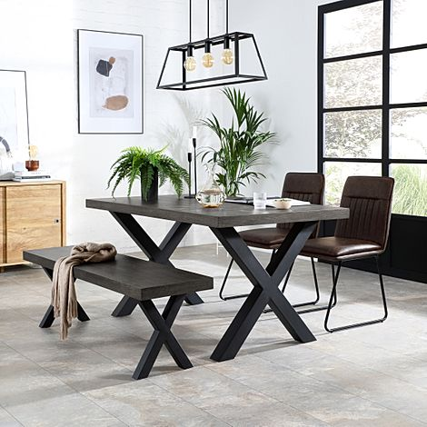 Franklin 150cm Grey Wood Dining Table and Bench with 2 Flint Vintage Brown Leather Chairs