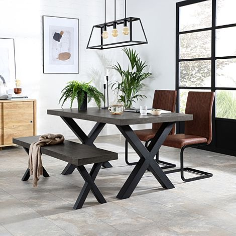 Franklin 150cm Grey Wood Dining Table and Bench with 2 Perth Tan Leather Chairs