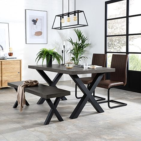 Franklin 150cm Grey Wood Dining Table and Bench with 2 Perth Vintage Brown Leather Chairs