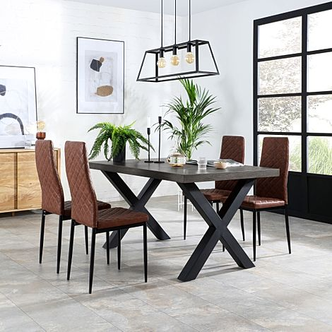 Franklin 150cm Grey Wood Dining Table with 4 Renzo Tan Leather Chairs
