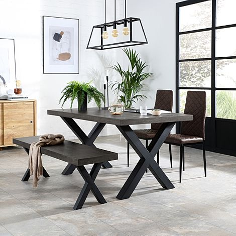 Franklin 150cm Grey Wood Dining Table and Bench with 2 Renzo Vintage Brown Leather Chairs