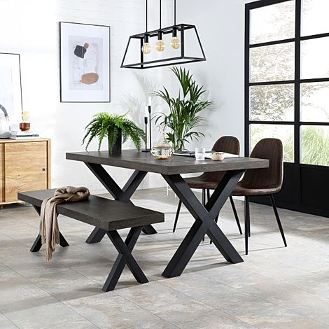 Franklin 150cm Grey Wood Dining Table and Bench with 2 Brooklyn Vintage Brown Leather Chairs