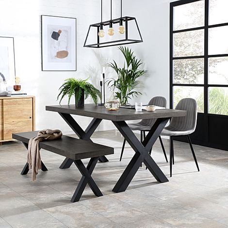 Franklin 150cm Grey Wood Dining Table and Bench with 2 Brooklyn Grey Velvet Chairs