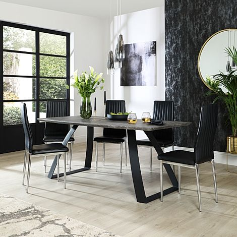 Ancona Concrete Dining Table with 6 Leon Black Leather Chairs