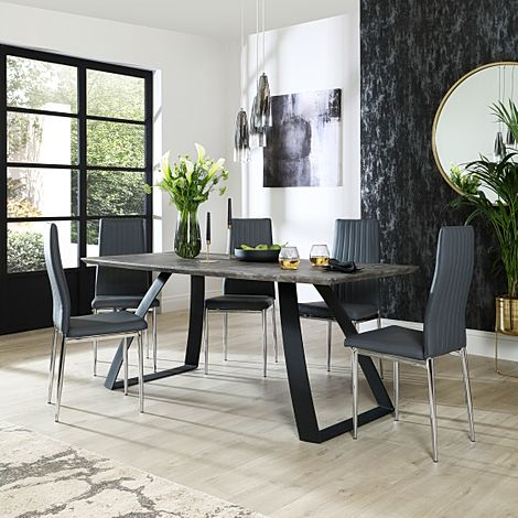 Ancona Concrete Dining Table with 4 Leon Grey Leather Chairs