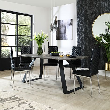 Ancona Concrete Dining Table with 4 Renzo Black Leather Chairs