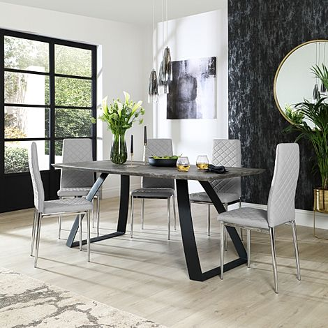 Ancona Concrete Dining Table with 6 Renzo Light Grey Leather Chairs