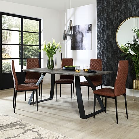 Ancona Concrete Dining Table with 4 Renzo Tan Leather Chairs