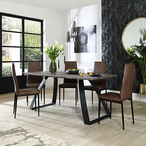 Ancona Concrete Dining Table with 4 Renzo Vintage Brown Leather Chairs