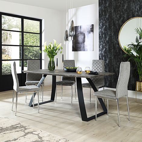 Ancona Concrete Dining Table with 4 Renzo Grey Velvet Chairs
