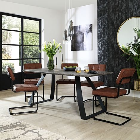 Ancona Concrete Dining Table with 6 Carter Tan Leather Chairs