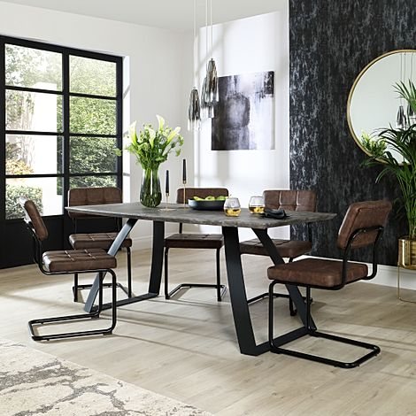 Ancona Concrete Dining Table with 6 Carter Vintage Brown Leather Chairs