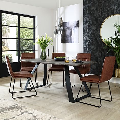 Ancona Concrete Dining Table with 6 Flint Tan Leather Chairs