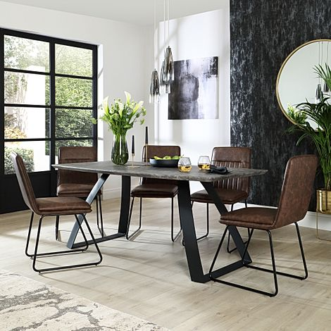 Ancona Concrete Dining Table with 6 Flint Vintage Brown Leather Chairs