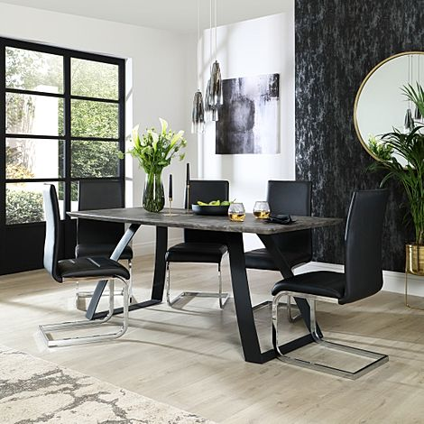 Ancona Concrete Dining Table with 4 Perth Black Leather Chairs
