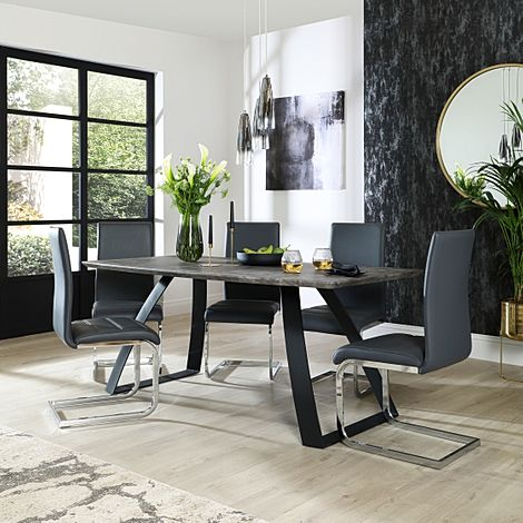 Ancona Concrete Dining Table with 4 Perth Grey Leather Chairs