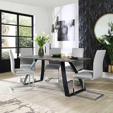 Ancona Concrete Dining Table with 6 Perth Light Grey Leather Chairs