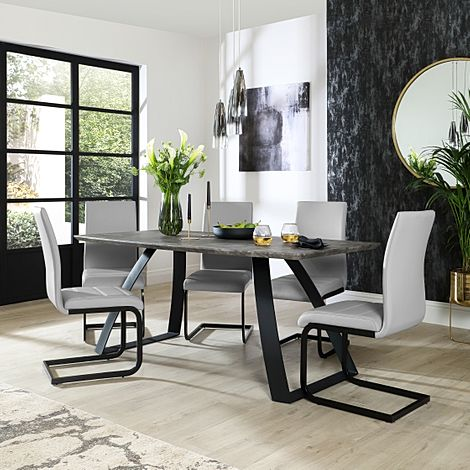 Ancona Concrete Dining Table with 6 Perth Light Grey Leather Chairs (Black Legs)