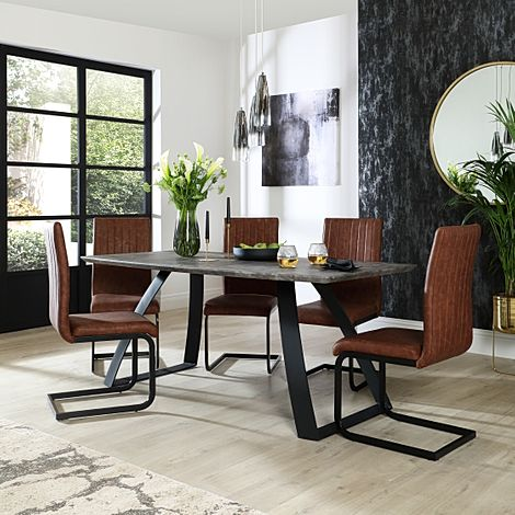 Ancona Concrete Dining Table with 4 Perth Tan Leather Chairs