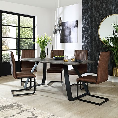Ancona Concrete Dining Table with 6 Perth Vintage Brown Leather Chairs
