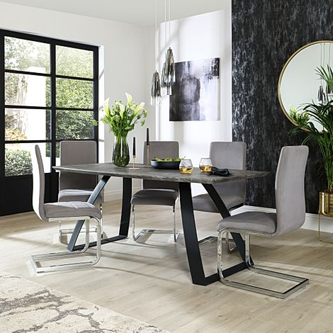 Ancona Concrete Dining Table with 4 Perth Grey Velvet Chairs