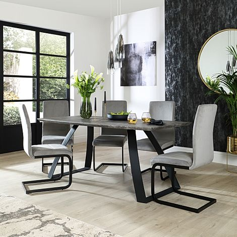 Ancona Concrete Dining Table with 6 Perth Grey Velvet Chairs (Black Legs)