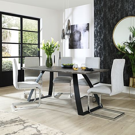 Ancona Concrete Dining Table with 6 Perth Dove Grey Fabric Chairs