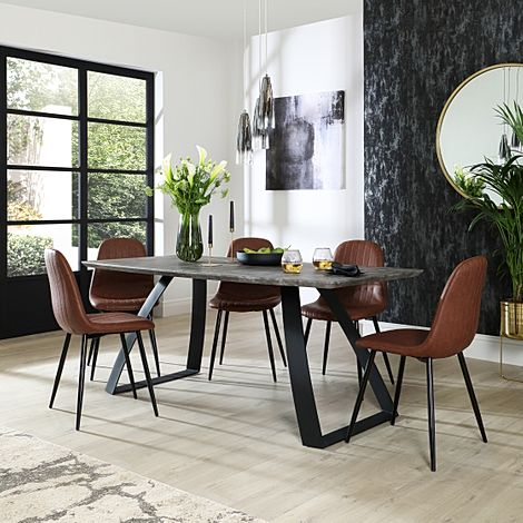 Ancona Concrete Dining Table with 4 Brooklyn Tan Leather Chairs