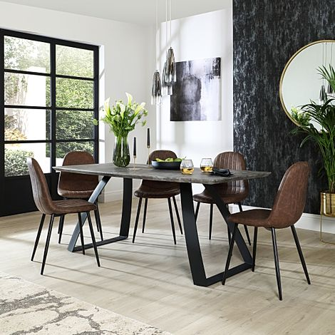 Ancona Concrete Dining Table with 6 Brooklyn Vintage Brown Leather Chairs