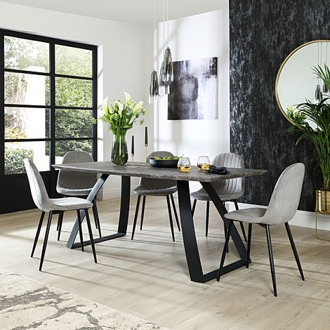 Ancona Concrete Dining Table with 4 Brooklyn Grey Velvet Chairs