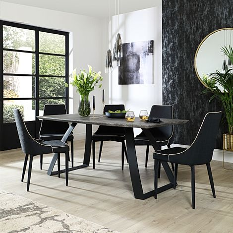 Ancona Concrete Dining Table with 6 Modena Black Fabric Chairs
