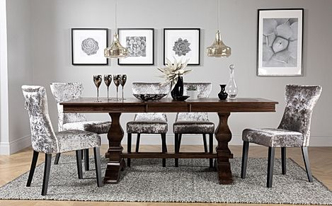 Cavendish Dark Wood Extending Dining Table with 4 Kensington Silver Velvet Chairs