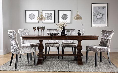 Cavendish Dark Wood Extending Dining Table with 6 Kensington Silver Velvet Chairs