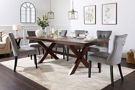 Grange Dark Wood Extending Dining Table with 8 Kensington Grey Velvet Chairs