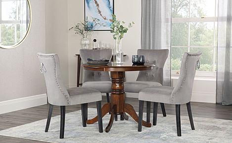 Kingston Round Dark Wood Dining Table with 4 Kensington Grey Velvet Chairs