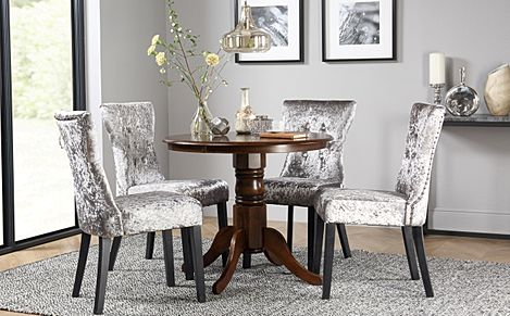 Kingston Round Dark Wood Dining Table with 2 Kensington Silver Velvet Chairs