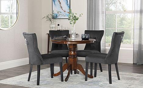 Kingston Round Dark Wood Dining Table with 4 Kensington Black Velvet Chairs