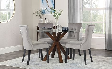 Hatton Round Dark Wood and Glass Dining Table with 2 Kensington Grey Velvet Chairs