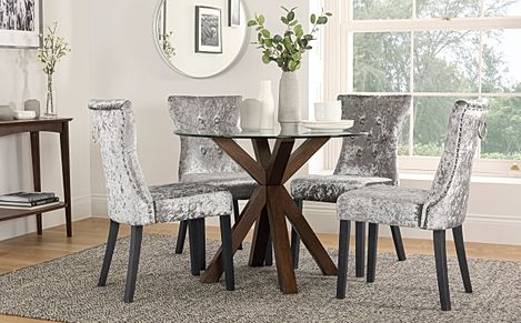 Hatton Round Dark Wood and Glass Dining Table with 4 Kensington Silver Velvet Chairs
