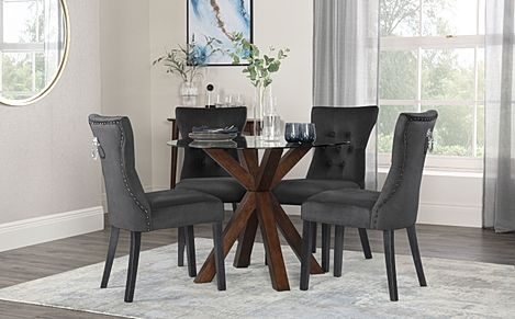 Hatton Round Dark Wood and Glass Dining Table with 2 Kensington Black Velvet Chairs