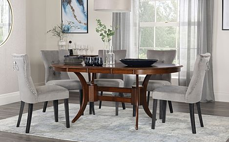 Townhouse Oval Dark Wood Extending Dining Table with 6 Kensington Grey Velvet Chairs