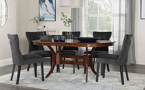 Townhouse Oval Dark Wood Extending Dining Table with 4 Kensington Black Velvet Chairs