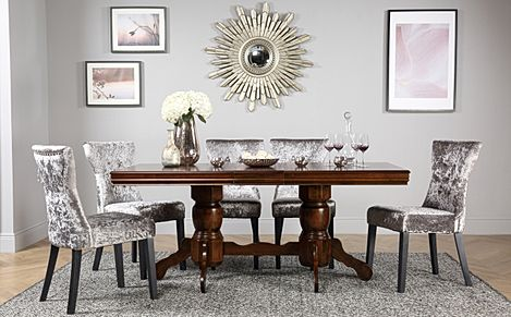 Chatsworth Dark Wood Extending Dining Table with 6 Kensington Silver Velvet Chairs