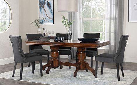 Chatsworth Dark Wood Extending Dining Table with 6 Kensington Black Velvet Chairs
