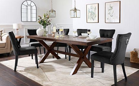 Grange Dark Wood Extending Dining Table with 8 Kensington Black Velvet Chairs