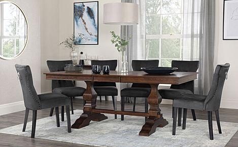 Cavendish Dark Wood Extending Dining Table with 6 Kensington Black Velvet Chairs